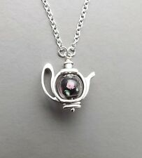Cute teapot charm pendant necklace .. black pink glass flower bead silver tone