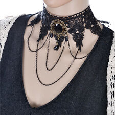 Victorian Style Black Lace Necklace Gothic Chain Collar Beads Pendant Jewelry