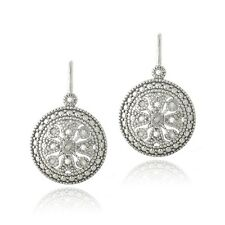 925 Silver 1/10ct Diamond Round Filigree Leverback Earrings
