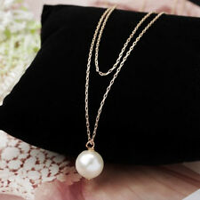 Fashion Women Charm Pearl Pendant Choker Bib Neck Jewelry Long Chain Necklace