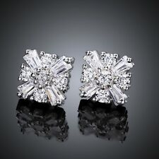 925 Sterling Silver SF Square Sparkling White Topaz Wedding Party Stud Earrings
