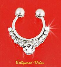 Septum Nasenclip Nasenring Strass Fake Piercing  Bollywood Tribal Silber Farbe#5