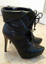 CHIX Black Faux Leather Pull On Slim High Heel Ankle Boots Size 6 NWB