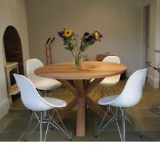900mm / 90cm - SOLID OAK ROUND CROSS LEG TABLE - HAND CRAFTED - MADE TO ORDER
