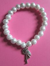 Vintage Faux White Pearl Glass Bead Silver Flamingo Bracelet New in Gift Bag