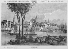 Lübeck, Ansicht mit Stadtwappen, Original-Holzstich von Clerget 1888
