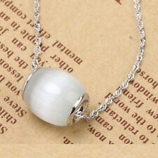 Elegant Perfect Gift 925 Sterling Silver Barrel White Opal Pendant Necklace