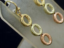 EB089- Genuine 9ct Solid Rose Yellow White Tri Color Gold Journey Drop  Earrings