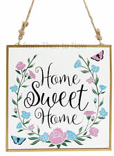 Glass Plaque Home Sweet Home Floral Butterfly Wall Door Sign Vintage Shabby Chic