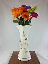 Tall Vase For Bunch Of Flowers White Glazed With Ornament Lovely Gift Present