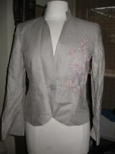 Ladies NEXT stone/beige linen pink embroidered skirt/jacket suit 8 WORN ONCE