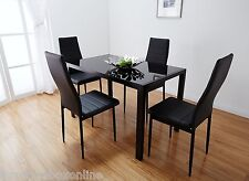 Designer Rectangle Glass Dining Table Set and 4 Black Faux Leather Chairs Seats
