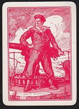 1 SINGLE VINTAGE PLAYING SWAP CARD OLD WIDE WW1 GUNNER NAVY SAILOR MAN RED