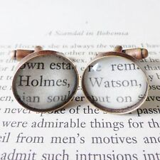 qUiRkY SHERLOCK HOLMES + DR WATSON BOOK PAGE GLASS ANTIQUE COPPER CUFFLINKS 18mm