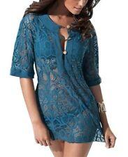 Damen Netzshirt Strandkleid Tunika Petrol Bademode Sommer Bikini Größe S/M/L