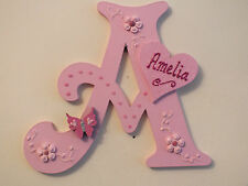 """Hand Made Personalised 6"""" Victotian Butterfly Capital Wooden Door/Wall Sign"""