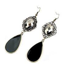 Unique Bronze Vintage Style Black Enamel Teardrop Drop Dangle Hook Earrings