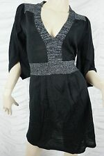 KATHERINE black silver lurex trim wool blend v-neck sweater dress size 12 BNWT
