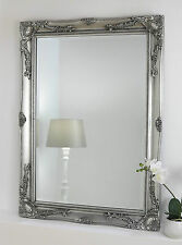 "Isabella Silver Shabby Chic Rectangle Antique Wall Mirror 42"" x 30"" Large"