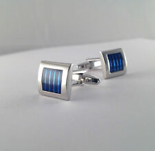 Brand New Blue Stripes Square Cufflinks