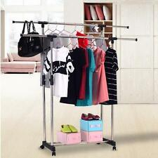 New Double Portable Stainless Steel Clothes Rack Hanger Cloth Garment Dryer AU