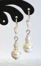 Muschelkernperle-Ohrringe * 8 mm Kugeln  weiß * diamantiert * 925 Sterlingsilber