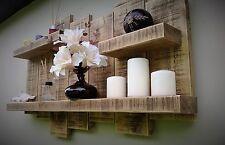 Large rustic reclaimed Floating Shelf display wall storage unit shelf light oak