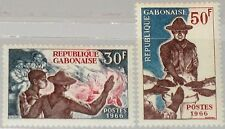 GABON GABUN 1966 255-56 200-01 Boy Scouts Pfadfinder Campfire Lagerfeuer MNH
