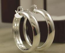 Smooth 925 Stamped Sterling Silver Hoop Earrings - 30mm - New UK 86