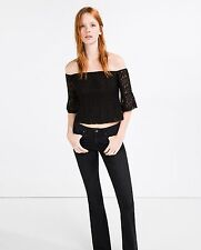 ZARA BLACK GUIPURE LACE CROPPED TOP   SIZE S