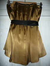 Gold Bronze Party Top Lined + Straps Gold Bronze Black M&S Size 8 UK 8 Top £35BN