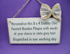 Personalised Handmade Wooden Plaque Wedding Sign Custom Shabby Chic Family Gift