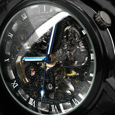 Black Stainless Steel Case Retro Automatic Mechanical Mens Man Wrist Watch GIFT