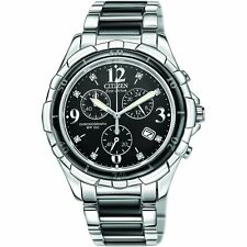 Citizen Ladies Eco-Drive Diamond set watch. Steel & Ceramic. FB1241-53E