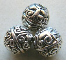 50pcs 8mm Round Metal Alloy Spacer Beads - Antique Silver #1