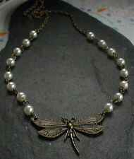 Vintage Inspired Antique Bronze Dragonfly Necklace Ivory Color Pearl Glass Beads