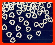 1000 Ivory Pearl Open Heart Wedding Table Confetti Decoration,12mmx12mm (HU3)