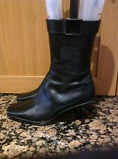 LOVELY MID CALF NINE WEST BLACK LEATHER SIZE7W/UK6 BOOTS WITH BUCKLE DESIGN WORN