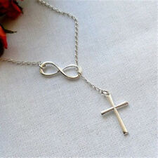 Hot New Lovely Women Infinity Cross Lariat Pendant Silver Plated Necklace