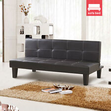 New Design Convertible Comfortable Sofa Bed Brown Faux Leather for 3 Seater