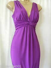 NEW JANE NORMAN SIZE 10 PURPLE SLINKY TWIST FRONT DRESS