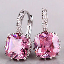 18ct White Gold filled Pink rose Quartz solitaire Earring Hoop Crystal leverback