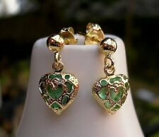 GENUINE 9CT GOLD EARRINGS EMERALD INSPIRED HOOP SILLY PRICE LOW STOCK 0091