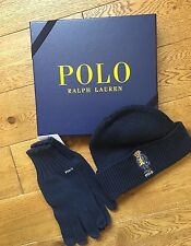 GIFT BOXED RALPH LAUREN NAVY BLUE BLACKWATCH BEAR BEANIE HAT & GLOVES SET