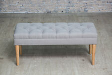 Grey Button Tufted Bench Seating Bedroom Hallway Upholstered