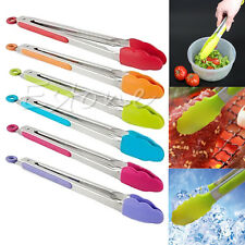 Silicone Kitchen Cook Salad Serving BBQ Tongs Stainless Steel Handle Tools New