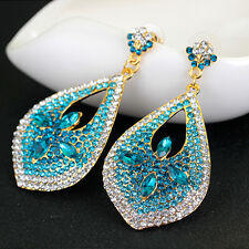 Glamorous Long Gold Plated  Blue Clear Crystal Dangle Fashion Statement Earrings