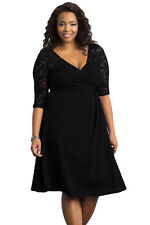 NEW Black Floral Lace Sleeve Skater Plus Size Dress Party Work 16 18 20 22 24 UK