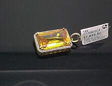 10K Yellow Gold Cushion Cut Canary Diamond Look Charm/ Pendant With Diamonds