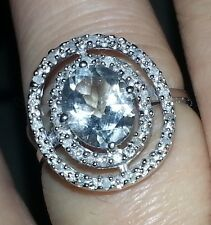 EXQUISITE SOLID 10K WHITE GOLD GENUINE GREEN AMETHYST AND DIAMOND RING 7 U$1270